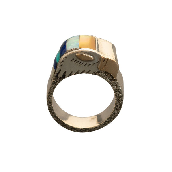 Michael Little Elk Ring of Inlay Eagle