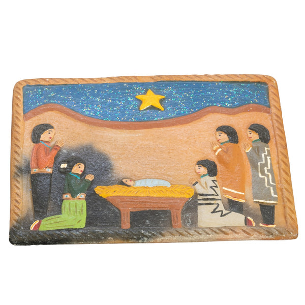 Elizabeth Manygoats Navajo Folk Art Nativity Pottery Tile