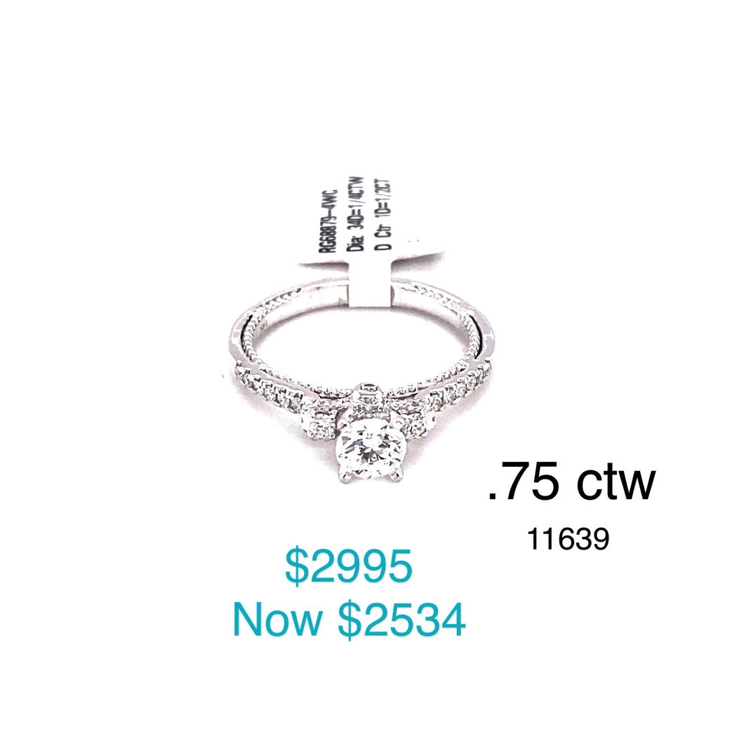 14k White Gold 0.75ctw Engagement Ring.