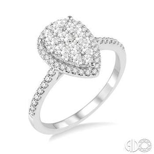 14k White Gold 1/2 Carat Total Weight Pear Shape Engagement Ring
