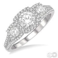 14k White Gold 7/8 Carat Total Weight Engagement Ring