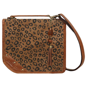 Upcycled Leather Casey Cheetah Crossbody