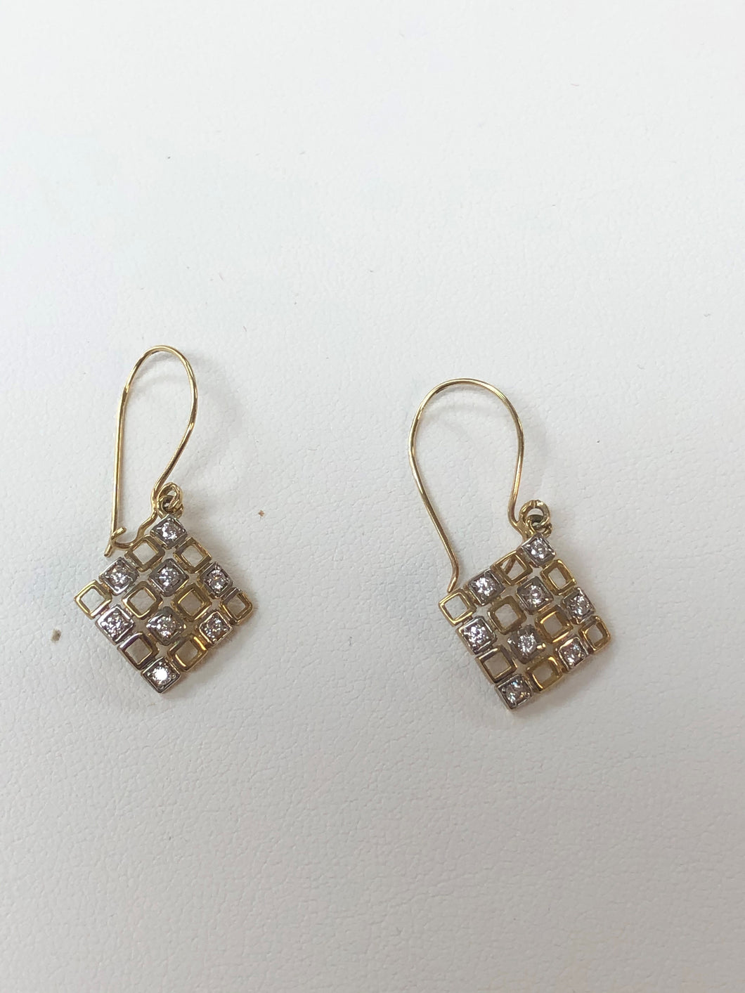 10k Yellow Gold Diamond Square Earrings