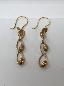 14k Yellow Gold Cable and Bead Earrings