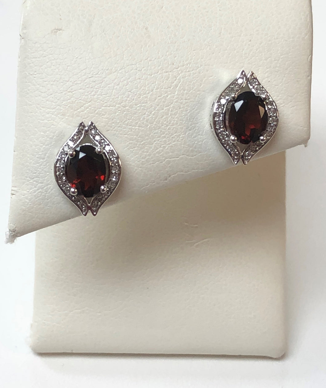 14k White Gold .14 Diamond Total Weight Garnet Earrings