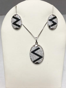 Sterling Silver Black and White CZ Zee Pendant and Earrings