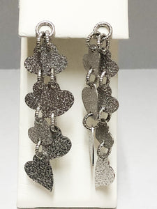 Sterling Silver Heart Cascade Earrings