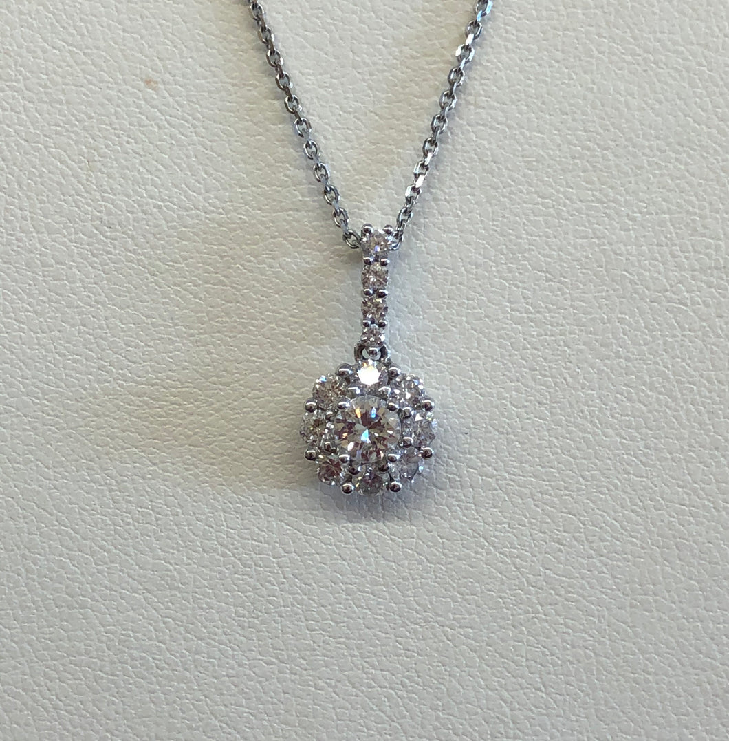 14k White Gold 1/2 Carat Diamond Cluster Pend