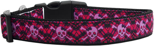 Hot Pink Plaid Skulls Dog Collar - Poochles
