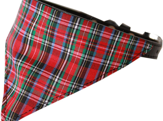 Red Plaid Bandana Dog Collar - Poochles