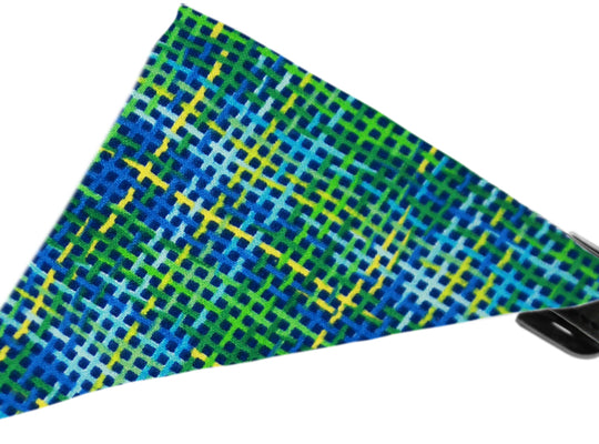 Blue Party Plaid Bandana Dog Collar - Poochles