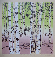 Lithograph relief prints, originals aspen trees