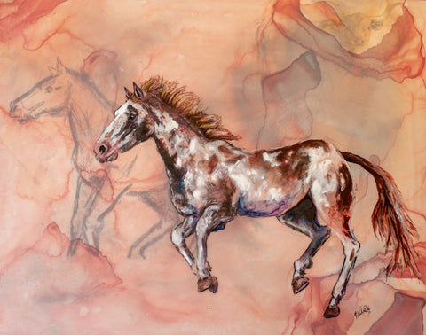 Original mixed media drawing by Artist Molly Box. Warm colord background with horse sketch i