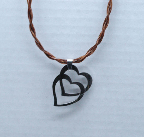 brown braided horsehair with stainless steel hearts focal