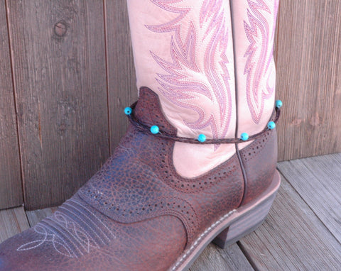 braided brown horsehair with teal beads. Boot bracelet
