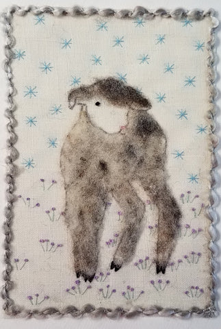 Spring Lamb felted on linen, hand embellished. blank inside, envelope included