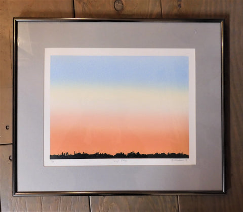 "Days Edge, original lithograph relief print by Laramie, WY artist Ginnie Madsen. 15' x 18"". Grey mat with browze tone frame, pastel sky"