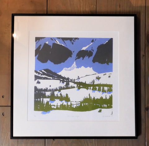 "Afternoon Light, original relieve 12"" x 12"" print by Ginny Madsen, 19"" x 19"" framed. Snoy foothils with Mountain face in blue"