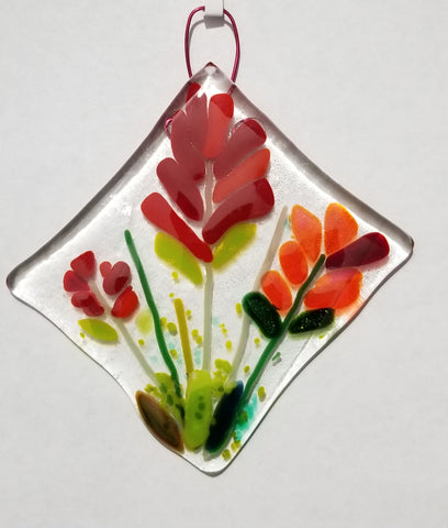 Indian Paint Brush Flower Diamond Window Hanger