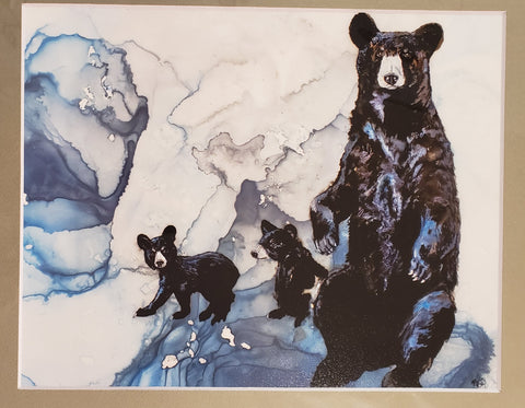 Mamma Bear and two cubs print