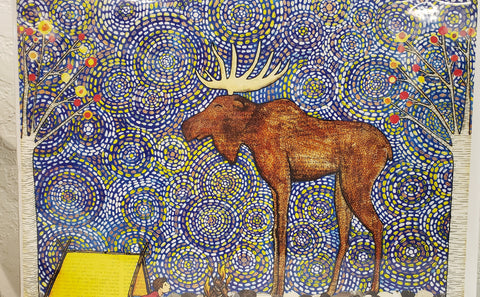 Visiting Moose while your are sleeping in your tent. Mixed media whimsical print