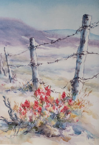 Greeting Card entitled Escape Route, printed from an original watercolor by Wanda Sanders of  the Wyoming foothills, barbed wire fencing and the state flower Indian Paint Brush