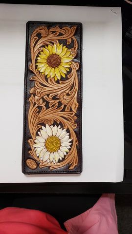 ND-138  ND20015 Daisy and Sunflower Tooled Leather Billfold