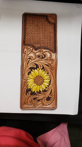 ND-138  ND20016 Sunflower  and Crazy StampTooled Leather Billfold