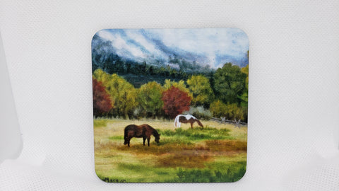Grazing Horses Coaster from Original Art