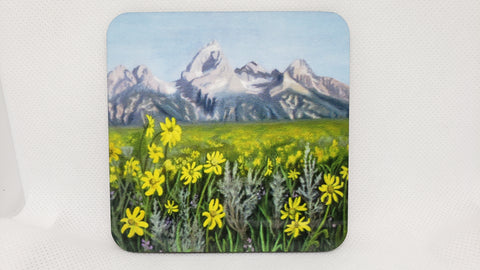 """Tetons / Daisies""  Coaster from Original Art"