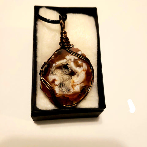 Geode Slice Agate Wire Wrapped Pendant Necklace