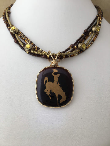 Annie Oakly Cowboy Bucking Horse Necklace