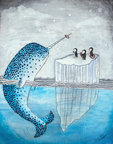 Artic Games fun print of  original art of penguins playing ring toss on narwhales horn
