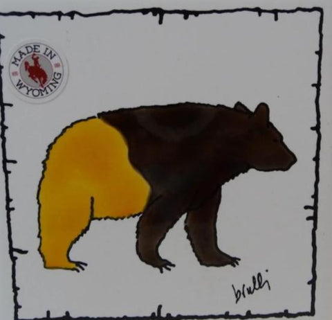 Silk Screened bear in brown and gold University of Wyomings' colors, tile coaster  Decorative or functional tile. Barbed wire border accent