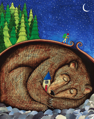 Beyond the Last Fir print by Tara Pappas of a sleeping bear curled up with a house and a backpacker hiking over his back