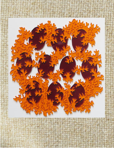 "Micro Biology Puzzle Ted Edeen, Puzzle Maker Multi colored acrylic pieces Total puzzle size 6"" x 6"" x 1/8"" Red, orange puzzle pieces 2 sided 2D pieces In nice clear case Please note, the puzzle is custom designed by the Artist , with a slight variation between each piece"
