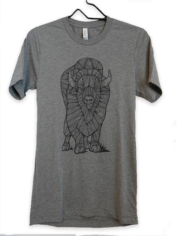 Bison / Buffalo Graphic Tee Shirt in Tri blend fabric, grey, short sleeved, Favian Hernandez