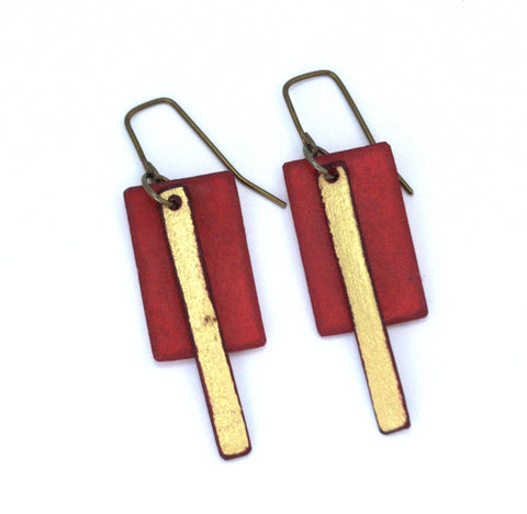 "Bronco Sue Brown / Gold Raw Hide Leather Earrings Artist: Dave Rowswell - Leather Artists Large Brown Rectangle / Long Skinny Gold rectangle Raw Hide Leather Earrings  Tanned Leather / Light Weight  Brown / gold big / small long rectangles  Hand dyed vibrant colors on rawhide   Antique colored ear wires   Matt Finish   5/8"" Wide x 2"" Long x 1 1/2"" Deep  Great with a pair of jeans or with an out on the town outfit"