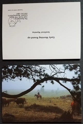 A Cowboy and his horse, moving cattle in the early morning. Photo greeting card, set of 4 with envelopes