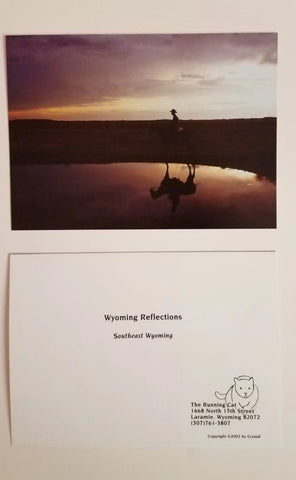 Wyoming Reflections, Wyoming Cowboy and Horse at Sunrise 5 x 7 photo cards with envelopes, blank inside