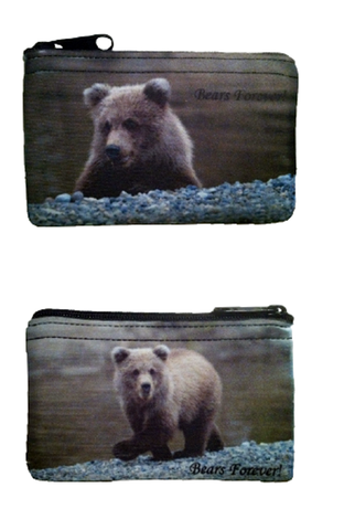 Brown bear imprinted on Neoprene, zippered, coin purses two different photos