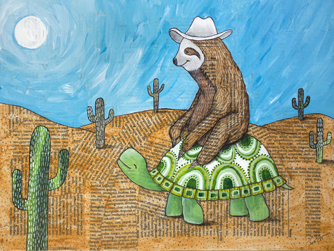Cowpokes gilcee print sloth riding a turtle in a catcus dotted desert