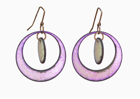 Circle Dance Violet Hoop / Green Circle Raw Hide Leather Earrings