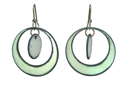 "Circle Dance Green / Violet Circle Raw Hide Leather Earrings Artist: Dave Rowswell - Leather Artist Rawhide from Tanned Leather  Green Hoops / Violet Circle  Hand dyed vibrant colors on rawhide   Antique colored ear wires   Matt Finish   1 3/8"" Wide x 5/8"" Long x 1/16"" Deep  Great with a pair of jeans or with an out on the town outfit"