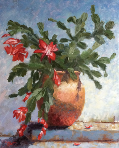 original oil painting of a Christmas cactus in bloom