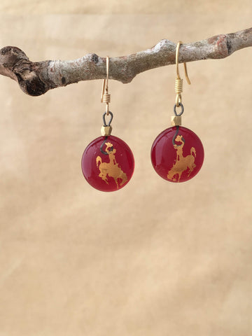 Wyoming Cowboy  Red Dangle Earrings