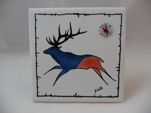 Wyoming elk bathroom tile coaster with cork backing, barbed wire border