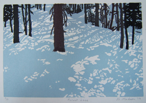"Relief Print by Wyomng artist Ginny Madsen of blue shadows on snow covered ground and trees. 6"" x 9"" print"