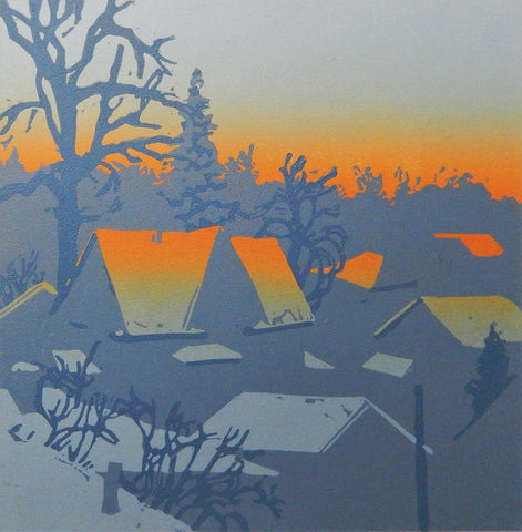 Original relief print in blues, greys and oranges of tents in a forest. Size 6 x 6i inches