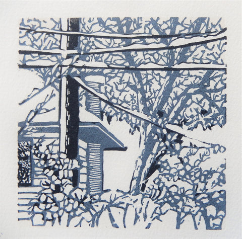""" Morning Blue "" Original Relief Print"